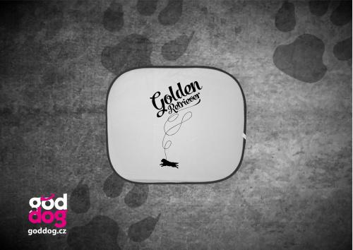 "Autostínítko s potiskem zlatého retrívra ""Golden Balloon"""