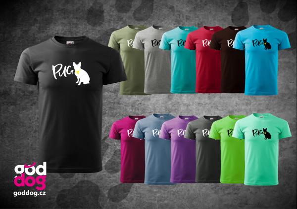 """Pánské triko s potiskem mopse """"Pug"""", kr.rukáv"""