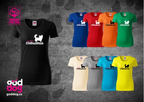 "Dámské triko s potiskem čivavy ""Longhaired"", org.bavlna"