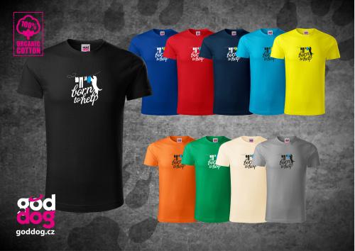 """Pánské triko s potiskem zlatého retrívra """"Born to help"""", org.bavlna"""