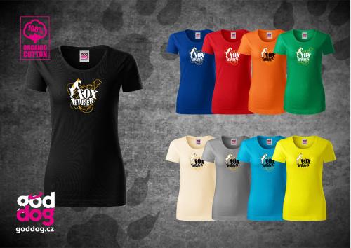 """Dámské triko s potiskem foxteriéra """"Foxterrier"""", org.bavlna"""
