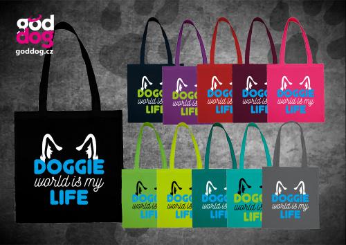 """Nákupní plátěná taška s potiskem psa """"Doggie Life"""""""