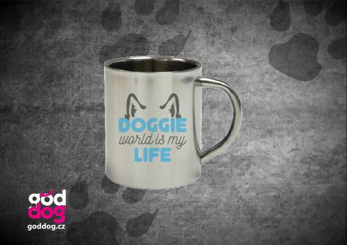 """Nerezový hrnek s potiskem psa """"Doggie Life"""""""