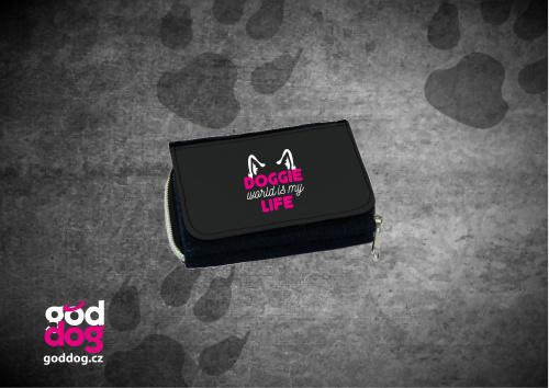 """Dámská peněženka s potiskem psa """"Doggie Life"""", džinová"""