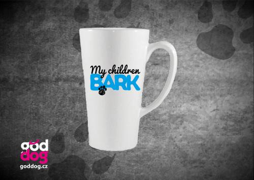 "Latté s potiskem psa ""My children bark"""