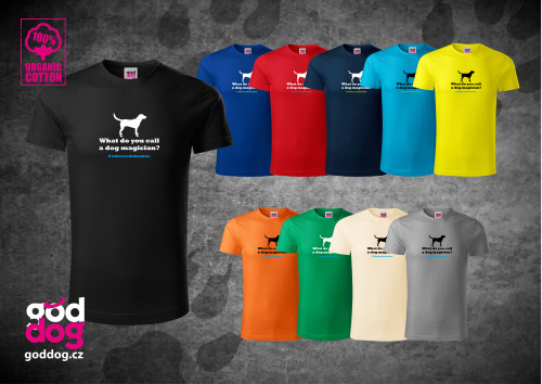 """Pánské triko s potiskem labradorského retrívra """"Labracadabrador"""", org.bavlna"""