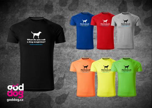 """Pánské funkční triko s potiskem labradorského retrívra """"Labracadabrador"""""""