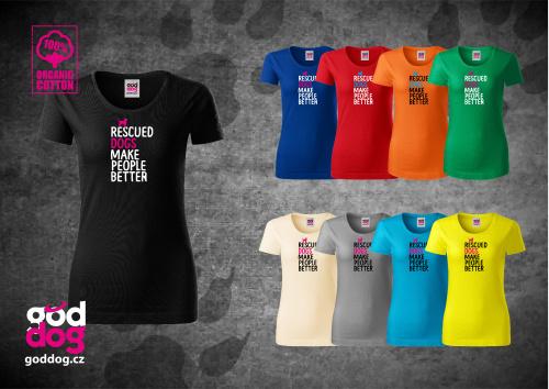 "Dámské triko s potiskem psa ""Rescued"", org.bavlna"