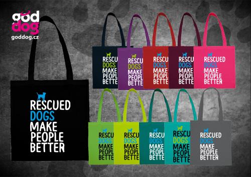 """Nákupní plátěná taška s potiskem psa """"Rescued"""""""