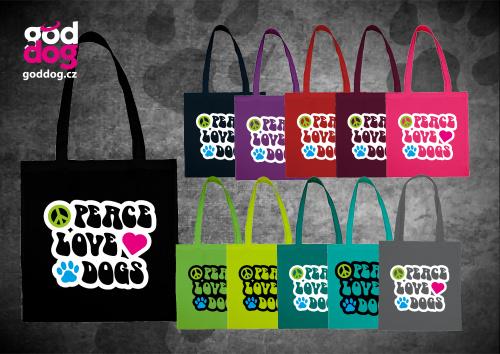 """Nákupní plátěná taška s potiskem psa """"Peace"""""""
