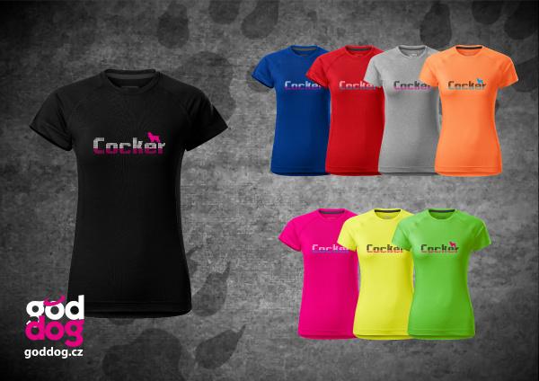 """Dámské funkční triko s potiskem anglického kokršpaněla """"Cocker"""""""