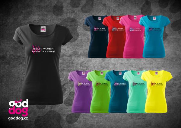 """Dámské triko s potiskem jack russell teriéra """"Brave Women"""", kr.rukáv"""