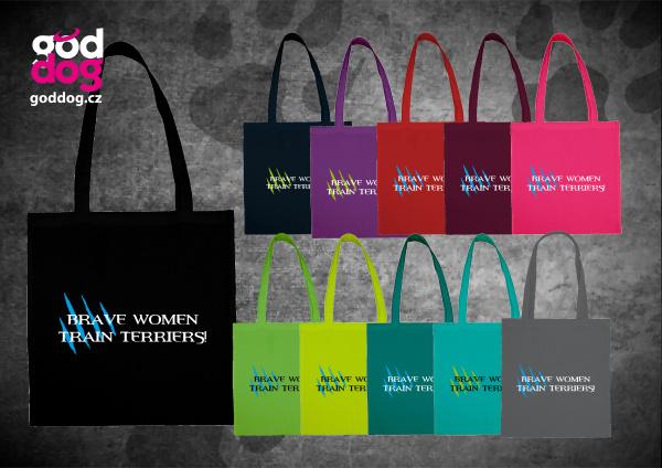 """Nákupní plátěná taška s potiskem parson russell teriéra """"Brave Women"""""""