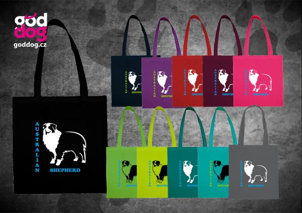 """Nákupní plátěná taška s potiskem australského ovčáka """"Australian Shepherd"""""""