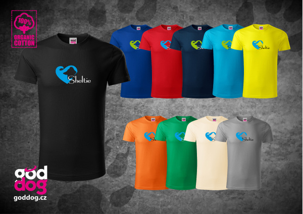 "Pánské triko s potiskem šeltie ""Sheltie Love"", org.bavlna"