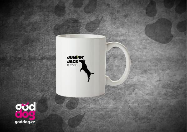 "Keramický hrnek s potiskem jack russell teriéra ""Jumping Jack"""
