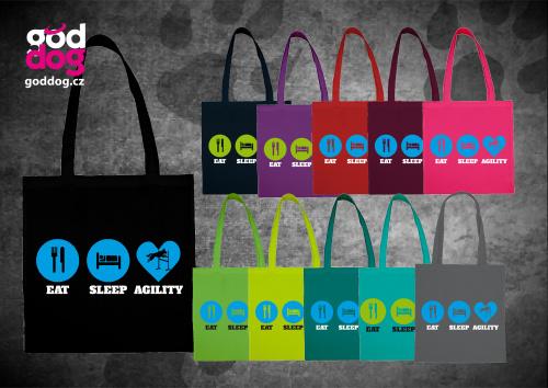 """Nákupní plátěná taška s potiskem agilit """"Eat, sleep, agility"""""""