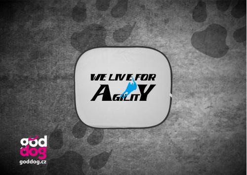 """Autostínítko s potiskem agilit """"We live"""""""