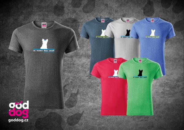 "Pánské triko s potiskem jorkšírského teriéra ""Small Terrier"", melír"
