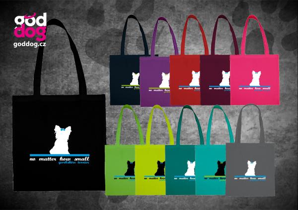 """Nákupní plátěná taška s potiskem jorkšírského teriéra """"Small Terrier"""""""