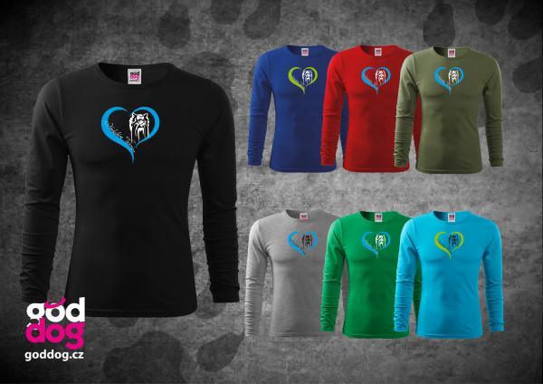 """Pánské triko s potiskem jorkšírského teriéra """"Yorkshire Heart"""", dl.rukáv"""