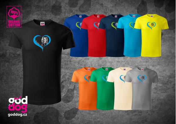 "Pánské triko s potiskem jorkšírského teriéra ""Yorkshire Heart"", org.bavlna"