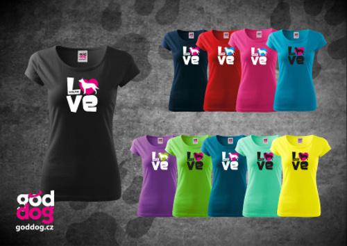 """Dámské triko s potiskem australské kelpie """"Love"""", kr.rukáv"""