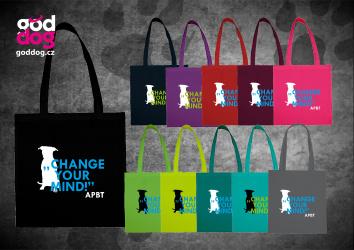"""Nákupní plátěná taška s potiskem pitbulla """"Change your mind"""""""