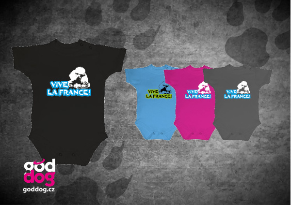 """Dětské body s potiskem pudla """"Vive la France"""""""