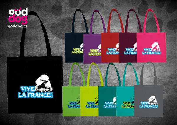 """Nákupní plátěná taška s potiskem pudla """"Vive la France"""""""