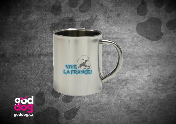 """Nerezový hrnek s potiskem pudla """"Vive la France"""""""