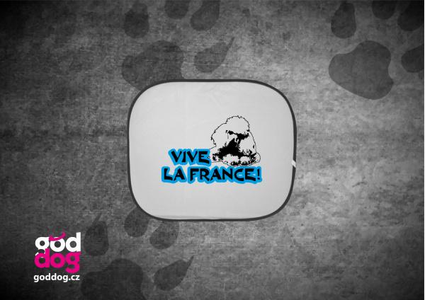 """Autostínítko s potiskem pudla """"Vive la France"""""""