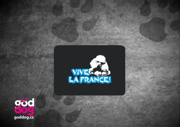 """Podložka pod myš s potiskem pudla """"Vive la France"""""""