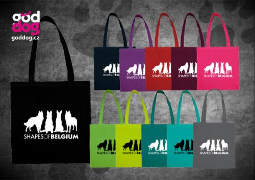 """Nákupní plátěná taška s potiskem belgického ovčáka """"Shapes of Belgium"""""""