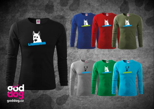 """Pánské triko s potiskem belgického ovčáka """"Laekenois"""", dl.rukáv"""