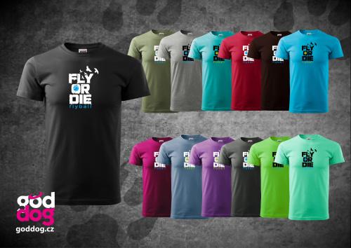 """Pánské triko s potiskem flyballu """"Fly or die"""", kr.rukáv"""
