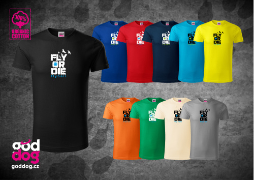 "Pánské triko s potiskem flyballu ""Fly or die"", org.bavlna"