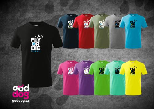"Dětské triko s potiskem flyballu ""Fly or die"", kr.rukáv"