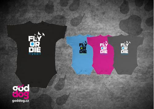 """Dětské body s potiskem flyballu """"Fly or die"""""""
