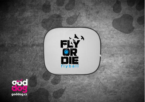 """Autostínítko s potiskem flyballu """"Fly or die"""""""