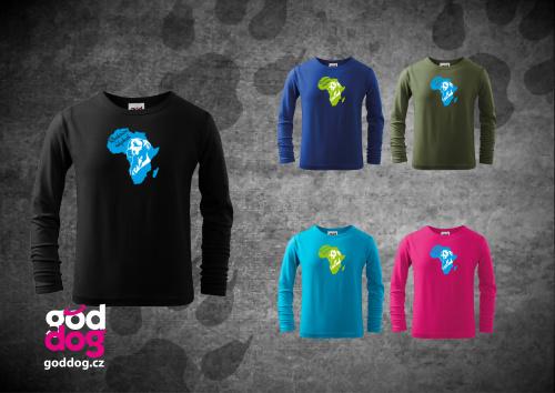 "Dětské triko s potiskem ridgebacka ""Rhodesian Ridgeback"", dl.rukáv"