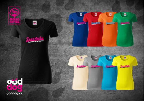 "Dámské triko s potiskem dogfrisbee ""Freestyle"", org.bavlna"