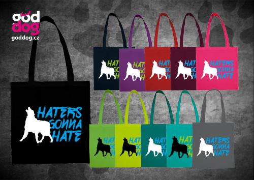 """Nákupní plátěná taška s potiskem psa """"Haters"""""""