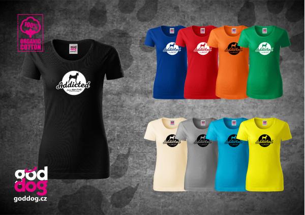 "Dámské triko s potiskem basenji ""Addicted"", org.bavlna"