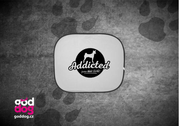 """Autostínítko s potiskem basenji """"Addicted"""""""