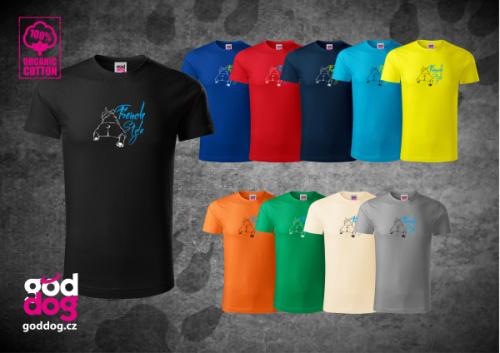 """Pánské triko s potiskem francouzského buldočka """"French Style"""", org.bavlna"""