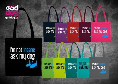 """Nákupní plátěná taška s potiskem psa """"Insane"""""""