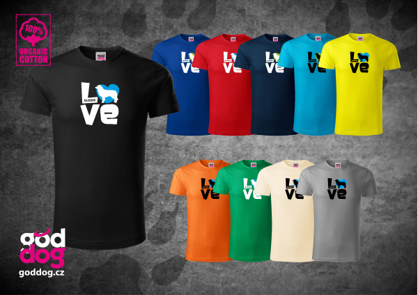 """Pánské triko s potiskem australského ovčáka """"Love"""", org.bavlna"""