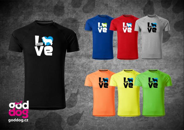 """Pánské funkční triko s potiskem australského ovčáka """"Love"""""""