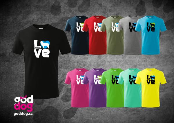 """Dětské triko s potiskem australského ovčáka """"Love"""", kr.rukáv"""